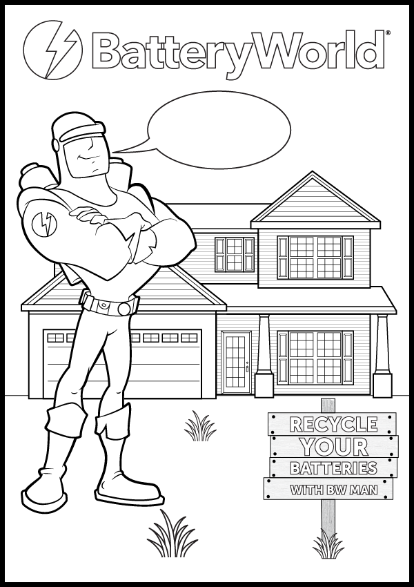 Battery World Man Colouring Page 01